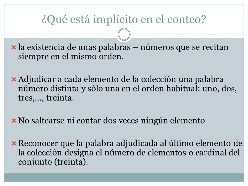 ¿Qué está implícito en el conteo? la existencia de unas palabras – números que se recitan siempre en el mismo orden. Adjudicar a cada elemento de la c