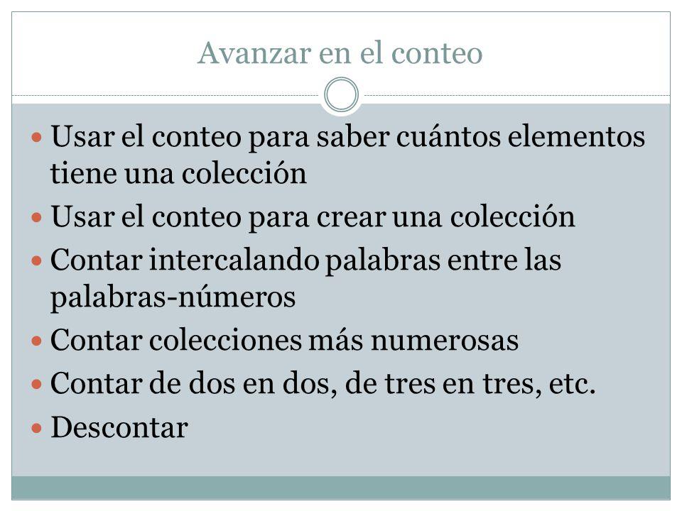 Avanzar en el conteo Usar el conteo para saber cuántos elementos tiene una colección Usar el conteo para crear una colección Contar intercalando palab