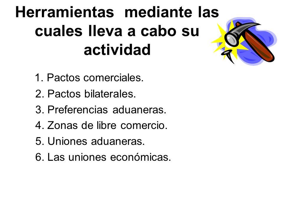 Herramientas mediante las cuales lleva a cabo su actividad 1. Pactos comerciales. 2. Pactos bilaterales. 3. Preferencias aduaneras. 4. Zonas de libre