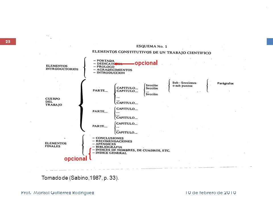 10 de febrero de 2010Prof. Marisol Gutiérrez Rodríguez 25 Tomado de (Sabino,1987, p. 33). opciona l