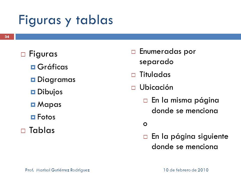 Figuras y tablas Figuras Gráficas Diagramas Dibujos Mapas Fotos Tablas 10 de febrero de 2010 Prof. Marisol Gutiérrez Rodríguez 34 Enumeradas por separ