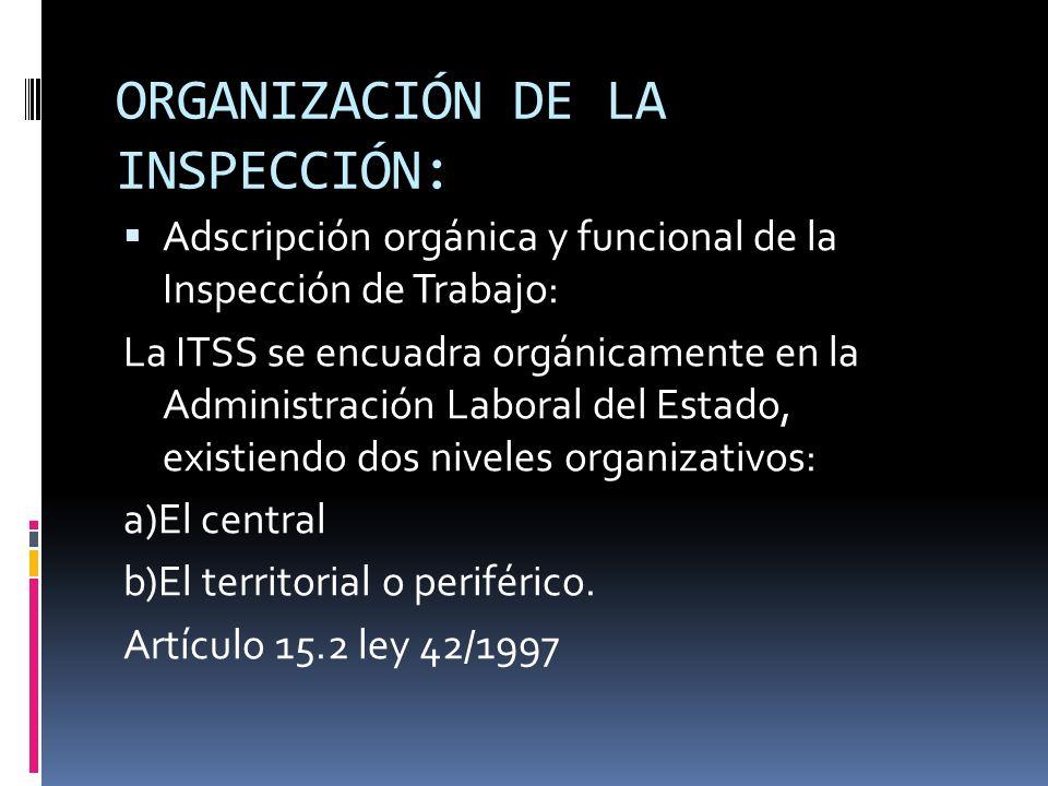 ORGANIZACIÓN DE LA INSPECCIÓN: a) A nivel central, la Autoridad Central de la Inspección de Trabajo y SS corresponde a la Dirección General de Inspección de Trabajo y SS del Ministerio de Trabajo e Inmigración, con las funciones de dirección, representación, jefatura y organización del personal.