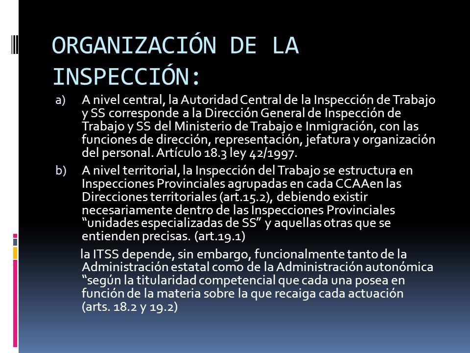 LA ACTUACIÓN INSPECTORA: Las funciones que cumple la ITSS son las siguientes (art.3 ley 42/1997): - Funciones de vigilancia en el cumplimiento de la legislación social laboral, de seguridad social, empleo y migraciones, cooperativas y economía social (sociedades laborales) - Funciones de asesoramiento y asistencia técnica - Funciones de información preceptiva o dictamen - Funciones de composición de conflictos laborales.
