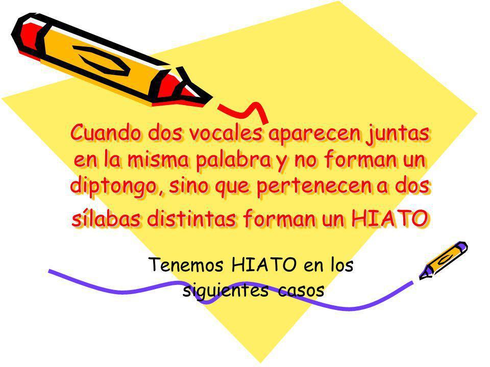 Cuando dos vocales aparecen juntas en la misma palabra y no forman un diptongo, sino que pertenecen a dos sílabas distintas forman un HIATO Tenemos HI