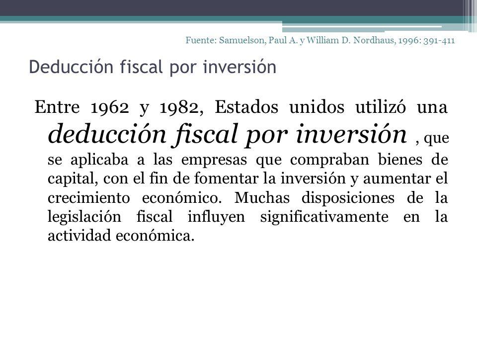 Deducción fiscal por inversión Entre 1962 y 1982, Estados unidos utilizó una deducción fiscal por inversión, que se aplicaba a las empresas que compra