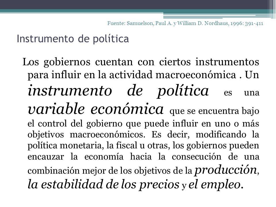Instrumento de política Los gobiernos cuentan con ciertos instrumentos para influir en la actividad macroeconómica. Un instrumento de política es una