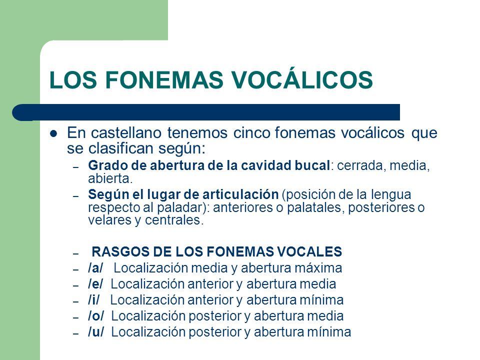 LOS FONEMAS VOCÁLICOS En castellano tenemos cinco fonemas vocálicos que se clasifican según: – Grado de abertura de la cavidad bucal: cerrada, media,