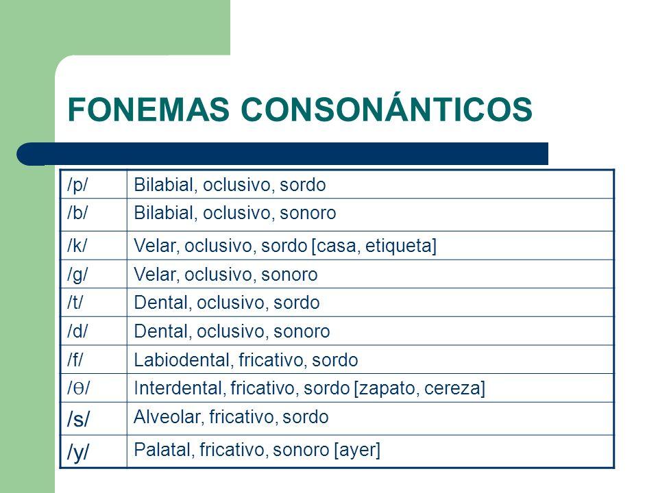 /p/Bilabial, oclusivo, sordo /b/Bilabial, oclusivo, sonoro /k/Velar, oclusivo, sordo [casa, etiqueta] /g/Velar, oclusivo, sonoro /t/Dental, oclusivo,