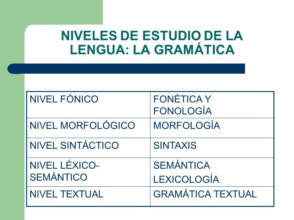 NIVELES DE ESTUDIO DE LA LENGUA: LA GRAMÁTICA NIVEL FÓNICOFONÉTICA Y FONOLOGÍA NIVEL MORFOLÓGICOMORFOLOGÍA NIVEL SINTÁCTICOSINTAXIS NIVEL LÉXICO- SEMÁ