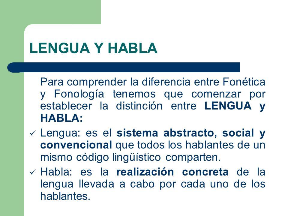 LENGUA Y HABLA Para comprender la diferencia entre Fonética y Fonología tenemos que comenzar por establecer la distinción entre LENGUA y HABLA: Lengua