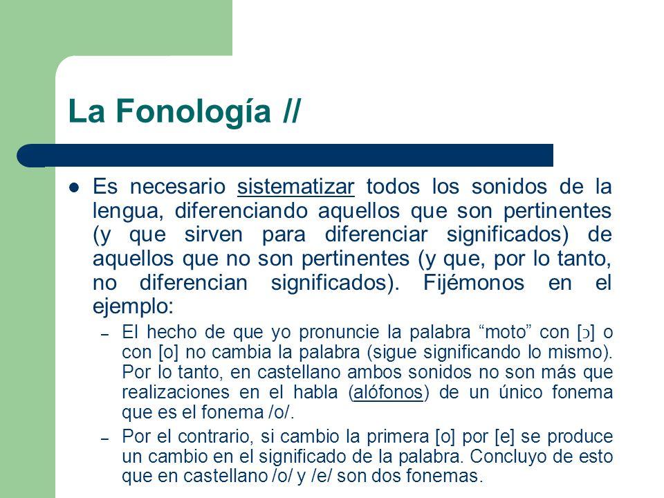 La Fonología // Es necesario sistematizar todos los sonidos de la lengua, diferenciando aquellos que son pertinentes (y que sirven para diferenciar si