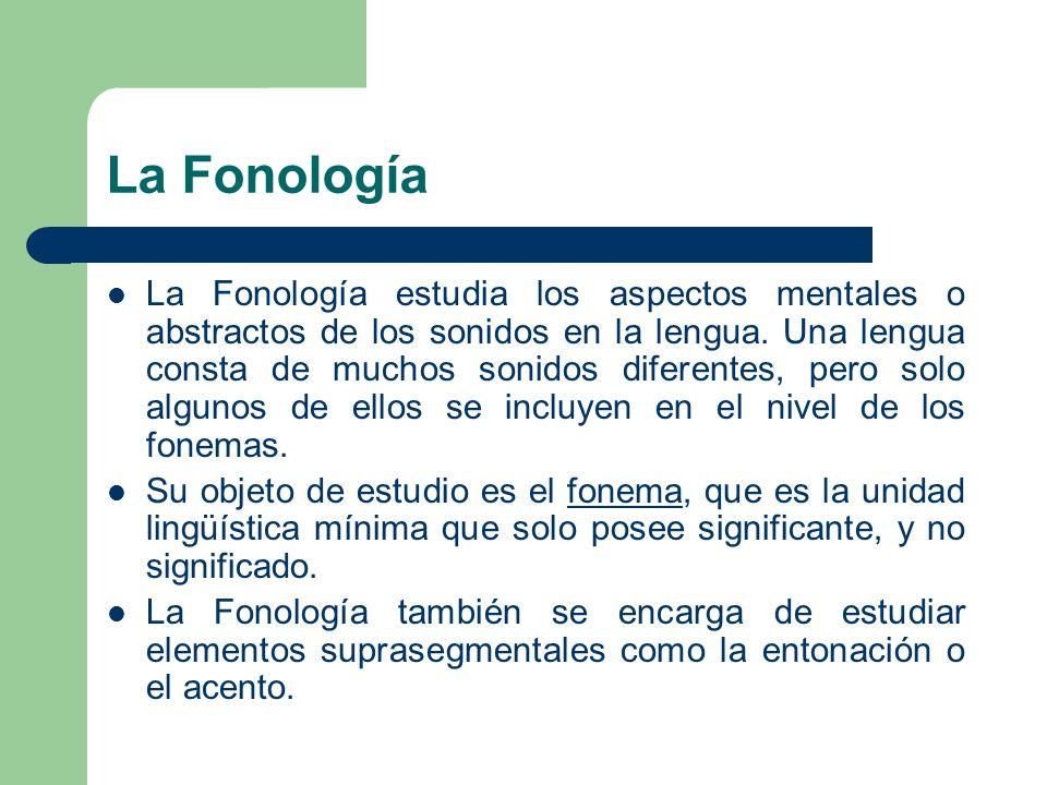La Fonología La Fonología estudia los aspectos mentales o abstractos de los sonidos en la lengua. Una lengua consta de muchos sonidos diferentes, pero