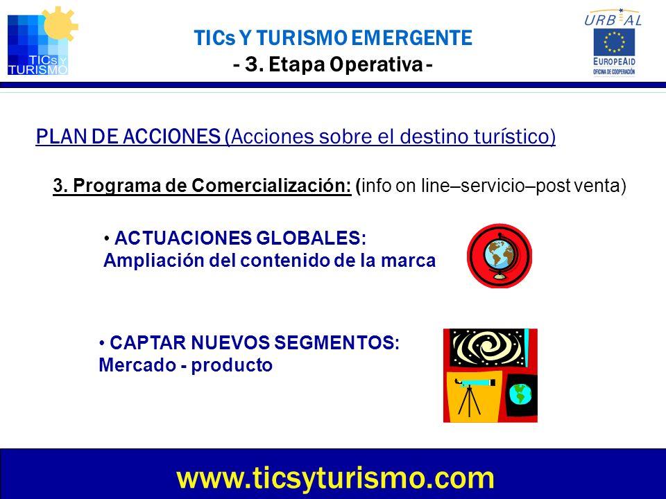 TICs Y TURISMO EMERGENTE - 3. Etapa Operativa - PLAN DE ACCIONES (Acciones sobre el destino turístico) www.ticsyturismo.com 3. Programa de Comercializ
