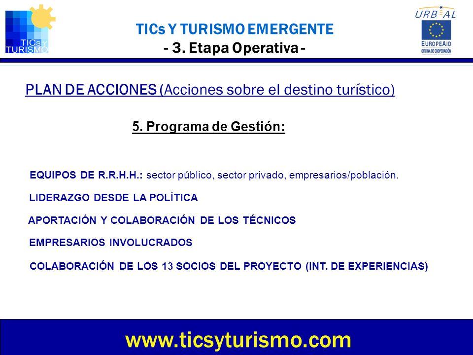 TICs Y TURISMO EMERGENTE - 3. Etapa Operativa - PLAN DE ACCIONES (Acciones sobre el destino turístico) www.ticsyturismo.com 5. Programa de Gestión: EQ