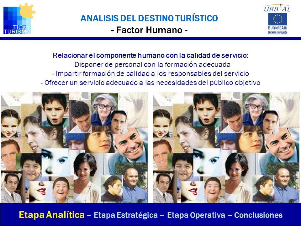 ANALISIS DEL DESTINO TURÍSTICO - Factor Humano - Relacionar el componente humano con la calidad de servicio: - Disponer de personal con la formación a