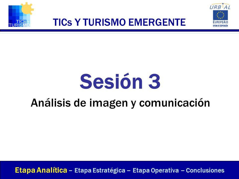 TICs Y TURISMO EMERGENTE Sesión 3 Análisis de imagen y comunicación Etapa Analítica – Etapa Estratégica – Etapa Operativa – Conclusiones