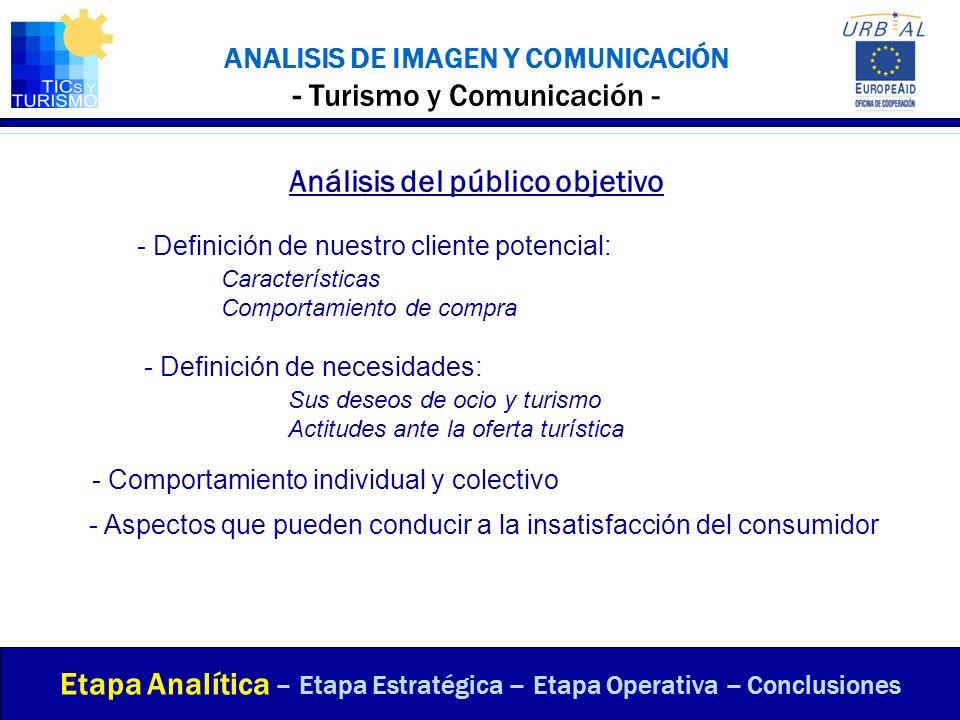 ANALISIS DE IMAGEN Y COMUNICACIÓN - Turismo y Comunicación - Análisis del público objetivo Etapa Analítica – Etapa Estratégica – Etapa Operativa – Con