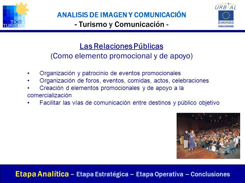 ANALISIS DE IMAGEN Y COMUNICACIÓN - Turismo y Comunicación - Las Relaciones Públicas (Como elemento promocional y de apoyo) Etapa Analítica – Etapa Es