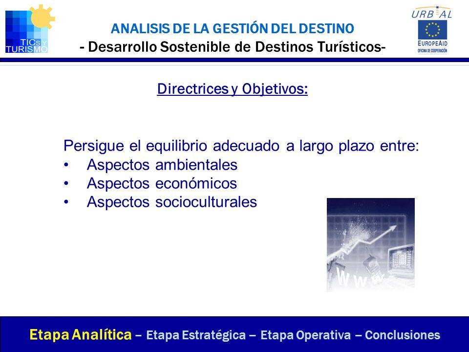 ANALISIS DE LA GESTIÓN DEL DESTINO - Desarrollo Sostenible de Destinos Turísticos- Directrices y Objetivos: Etapa Analítica – Etapa Estratégica – Etap