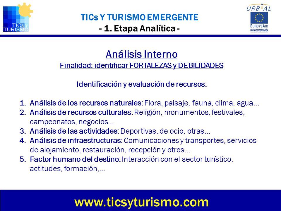 TICs Y TURISMO EMERGENTE - 1. Etapa Analítica - Análisis Interno Finalidad: identificar FORTALEZAS y DEBILIDADES Identificación y evaluación de recurs