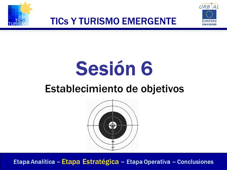 TICs Y TURISMO EMERGENTE Sesión 6 Establecimiento de objetivos Etapa Analítica – Etapa Estratégica – Etapa Operativa – Conclusiones
