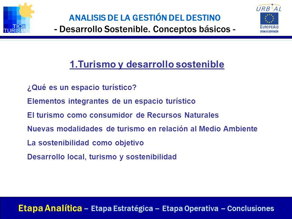 ANALISIS DE LA GESTIÓN DEL DESTINO - Desarrollo Sostenible. Conceptos básicos - Etapa Analítica – Etapa Estratégica – Etapa Operativa – Conclusiones 1