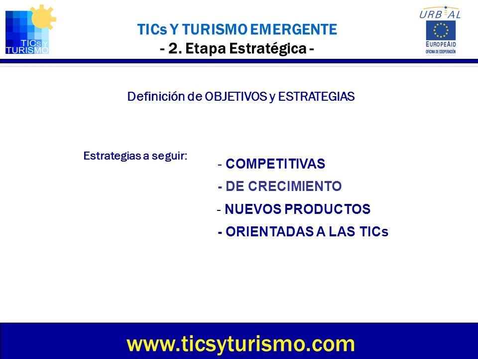 TICs Y TURISMO EMERGENTE - 2. Etapa Estratégica - Definición de OBJETIVOS y ESTRATEGIAS Estrategias a seguir: - ORIENTADAS A LAS TICs www.ticsyturismo