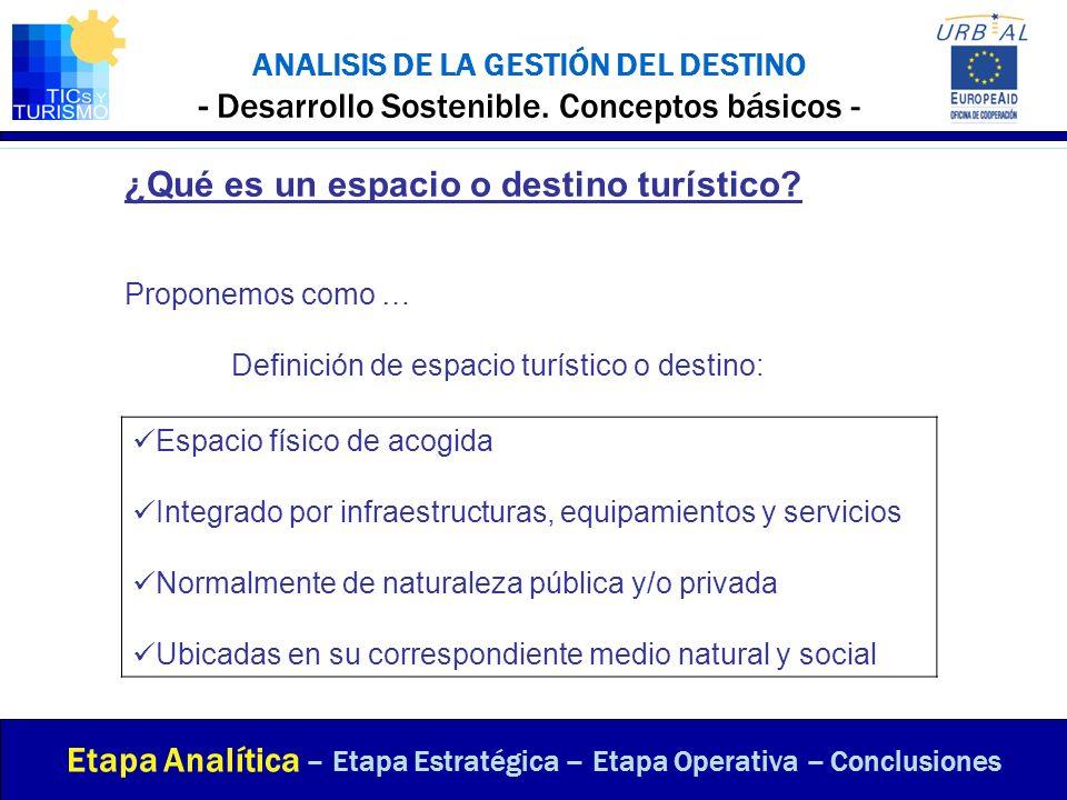 ANALISIS DE LA GESTIÓN DEL DESTINO - Desarrollo Sostenible. Conceptos básicos - Etapa Analítica – Etapa Estratégica – Etapa Operativa – Conclusiones ¿