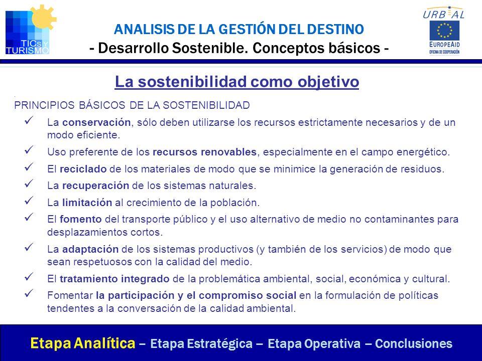 ANALISIS DE LA GESTIÓN DEL DESTINO - Desarrollo Sostenible. Conceptos básicos - Etapa Analítica – Etapa Estratégica – Etapa Operativa – Conclusiones L