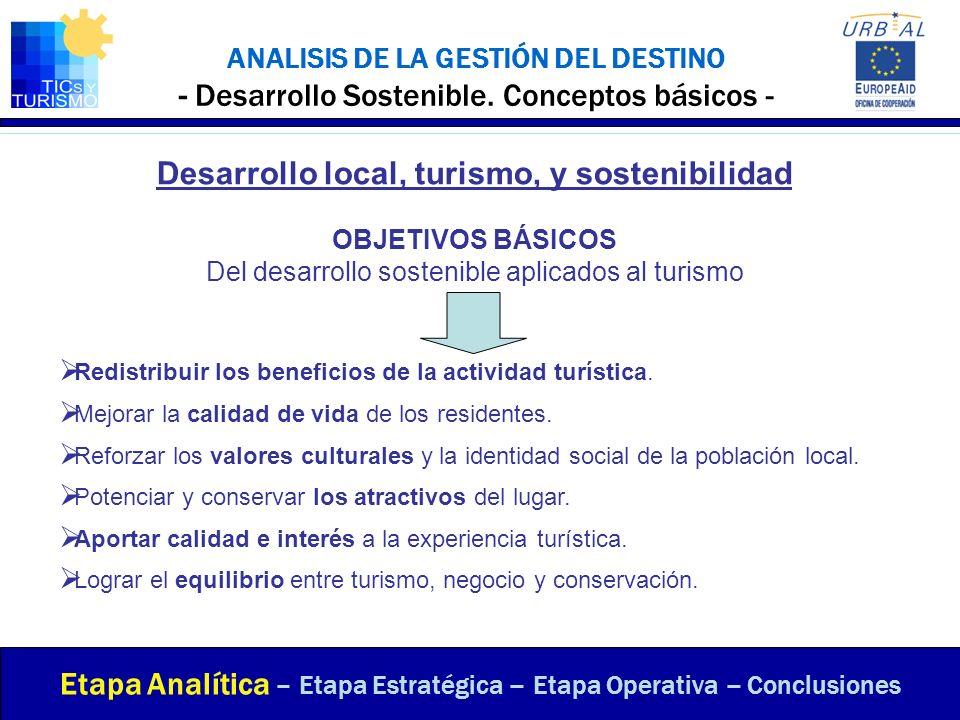 ANALISIS DE LA GESTIÓN DEL DESTINO - Desarrollo Sostenible. Conceptos básicos - Etapa Analítica – Etapa Estratégica – Etapa Operativa – Conclusiones D
