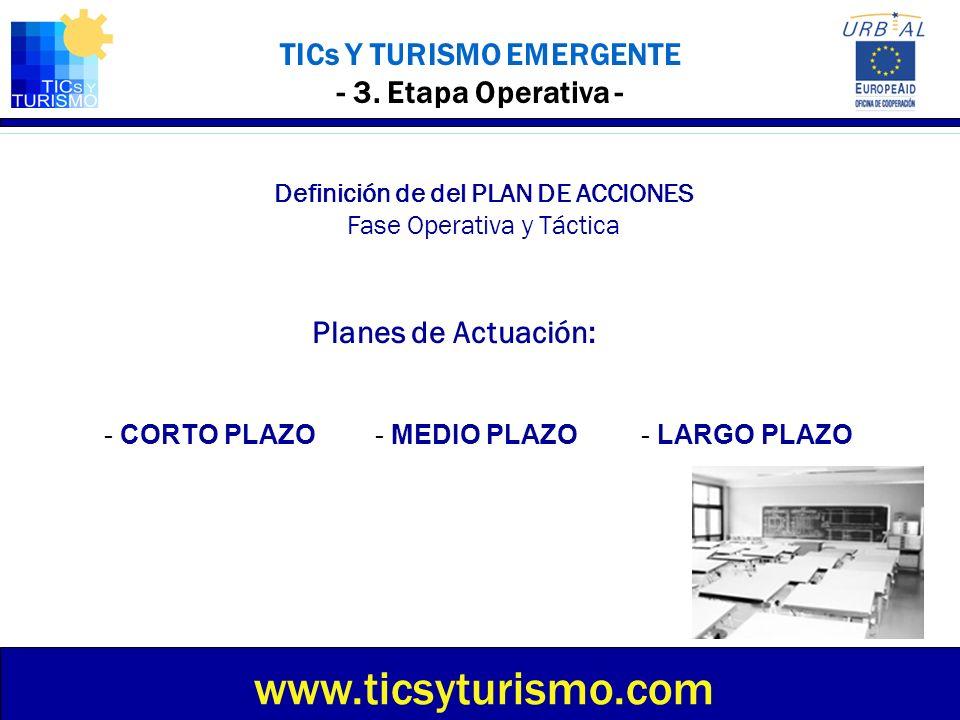 TICs Y TURISMO EMERGENTE - 3. Etapa Operativa - Definición de del PLAN DE ACCIONES Fase Operativa y Táctica Planes de Actuación: www.ticsyturismo.com