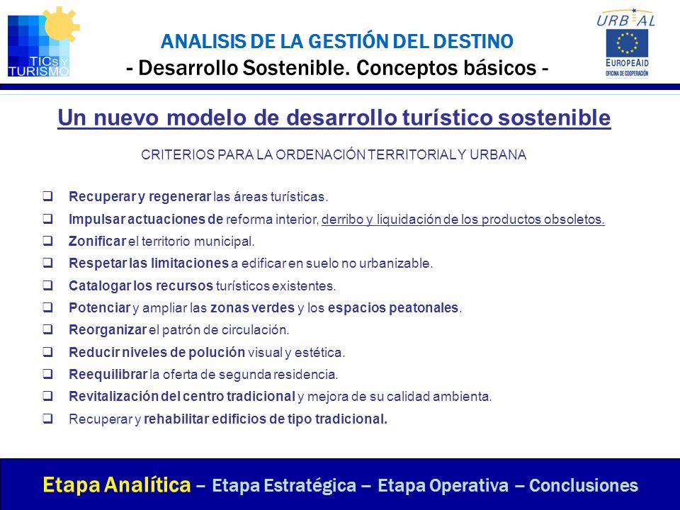 ANALISIS DE LA GESTIÓN DEL DESTINO - Desarrollo Sostenible. Conceptos básicos - Etapa Analítica – Etapa Estratégica – Etapa Operativa – Conclusiones U
