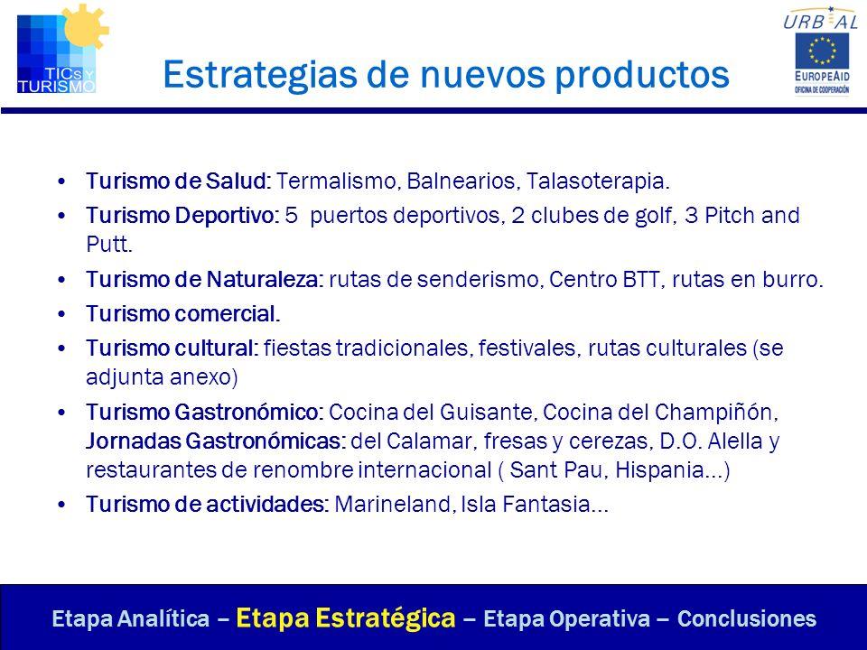 Estrategias de nuevos productos Turismo de Salud: Termalismo, Balnearios, Talasoterapia. Turismo Deportivo: 5 puertos deportivos, 2 clubes de golf, 3