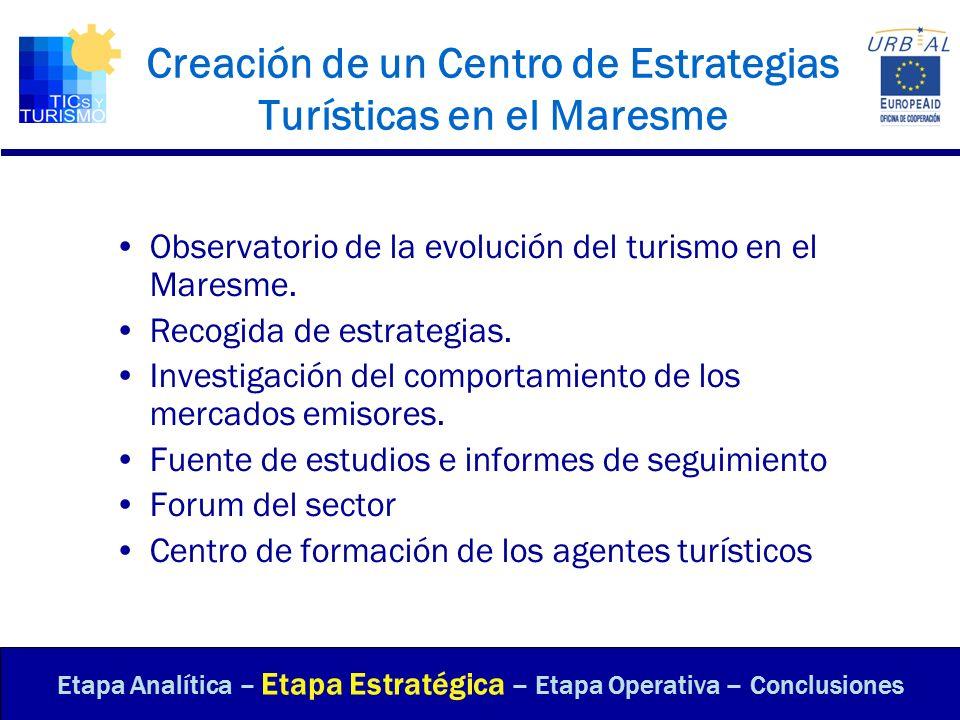 Creación de un Centro de Estrategias Turísticas en el Maresme Observatorio de la evolución del turismo en el Maresme. Recogida de estrategias. Investi