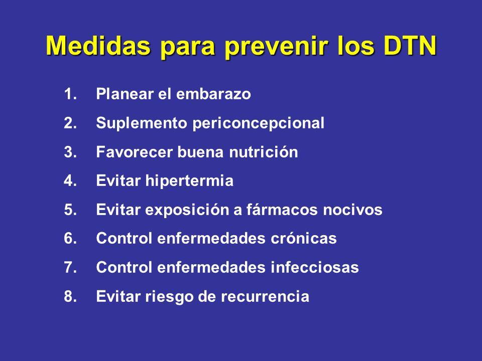Medidas para prevenir los DTN 1.Planear el embarazo 2.Suplemento periconcepcional 3.Favorecer buena nutrición 4.Evitar hipertermia 5.Evitar exposición