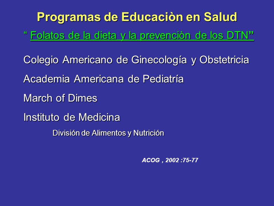Programas de Educaciòn en Salud Folatos de la dieta y la prevenciòn de los DTN Colegio Americano de Ginecología y Obstetricia Academia Americana de Pe