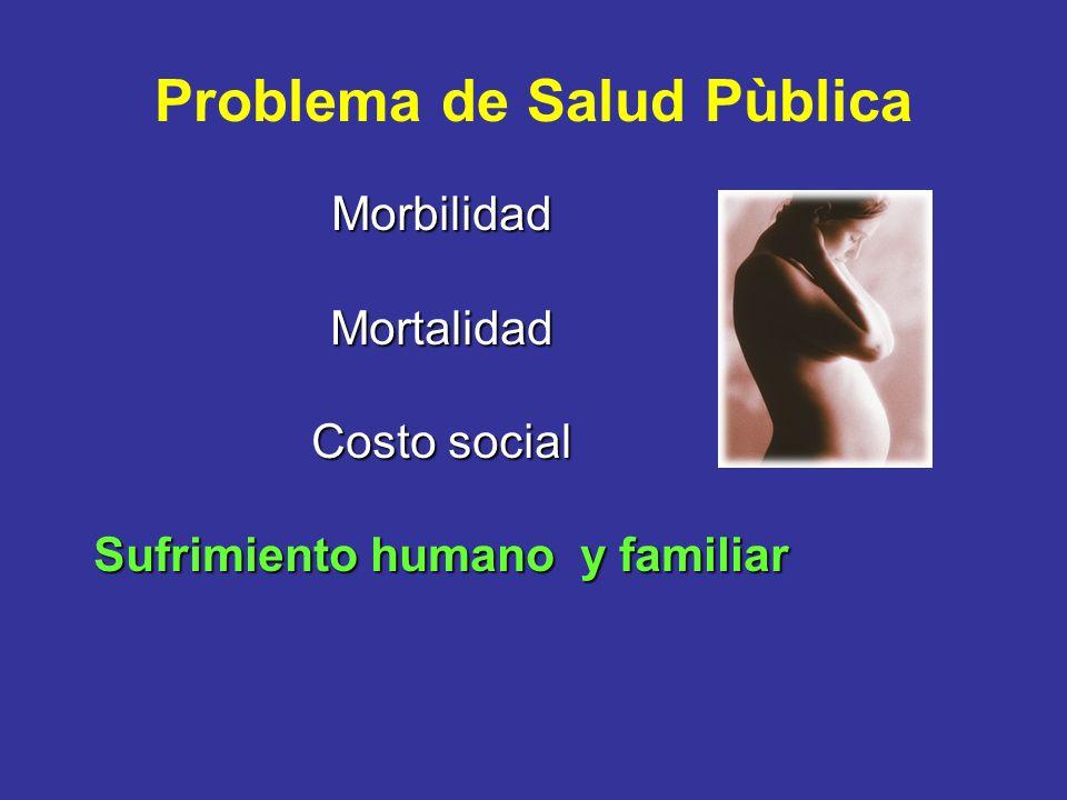 Problema de Salud Pùblica MorbilidadMortalidad Costo social Sufrimiento humano y familiar