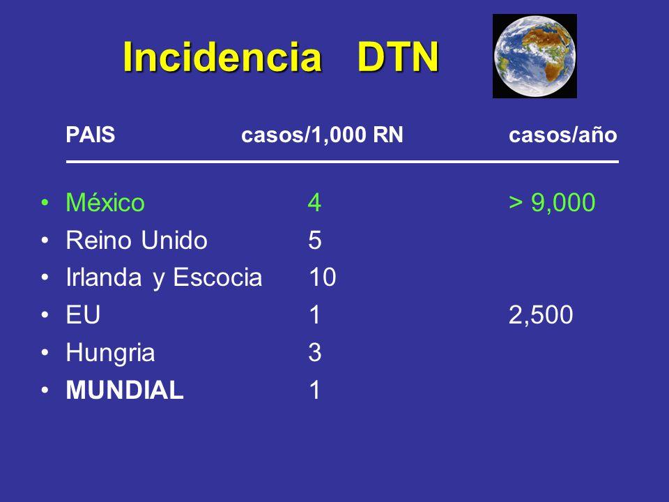 Incidencia DTN PAIScasos/1,000 RN casos/año México4> 9,000 Reino Unido5 Irlanda y Escocia10 EU12,500 Hungria 3 MUNDIAL 1