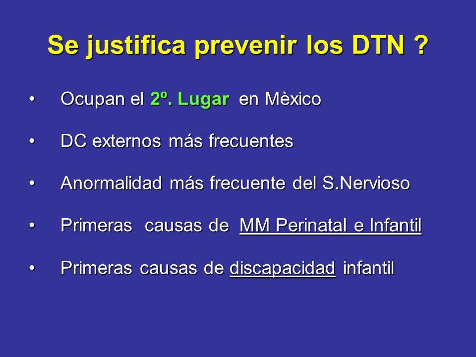 Recomendaciones SOGC, ACOG Embarazadas de Bajo Riesgo :Embarazadas de Bajo Riesgo : - Suplemento con Acido Fólico con multivitamínicos 0.4 a 1.0 mg / día ( III-1A ) 0.4 a 1.0 mg / día ( III-1A ) Mujeres de Riesgo intermedio o alto para DTN :Mujeres de Riesgo intermedio o alto para DTN : – Dosis altas Acido Fólico 4 ó 5 mg / diarios ( I-A ) Hijo previo DTN antecedentes familiares DTN DM insulinodependiente anticonvulsivos J Obstet Gynaecol Can,2003 Nov;25(11):959-73