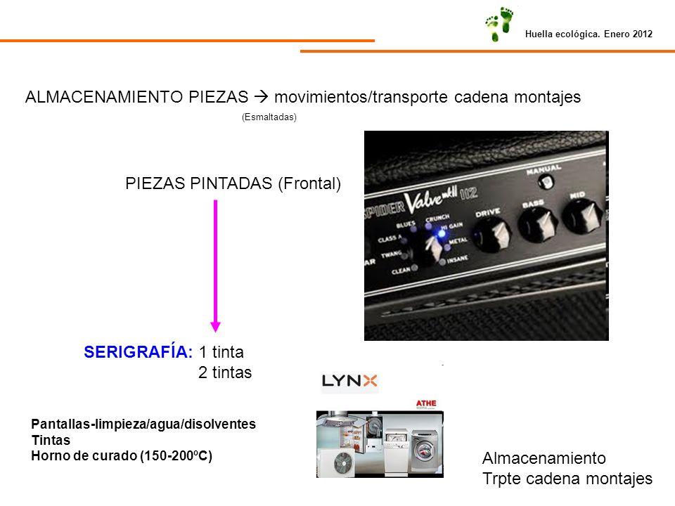 Huella ecológica. Enero 2012 ALMACENAMIENTO PIEZAS movimientos/transporte cadena montajes (Esmaltadas) PIEZAS PINTADAS (Frontal) SERIGRAFÍA: 1 tinta 2