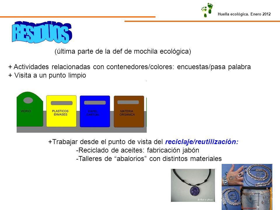 Huella ecológica. Enero 2012 (última parte de la def de mochila ecológica) + Actividades relacionadas con contenedores/colores: encuestas/pasa palabra