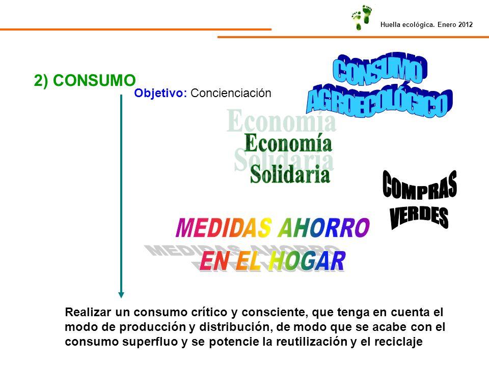 Huella ecológica. Enero 2012 2) CONSUMO Objetivo: Concienciación Realizar un consumo crítico y consciente, que tenga en cuenta el modo de producción y