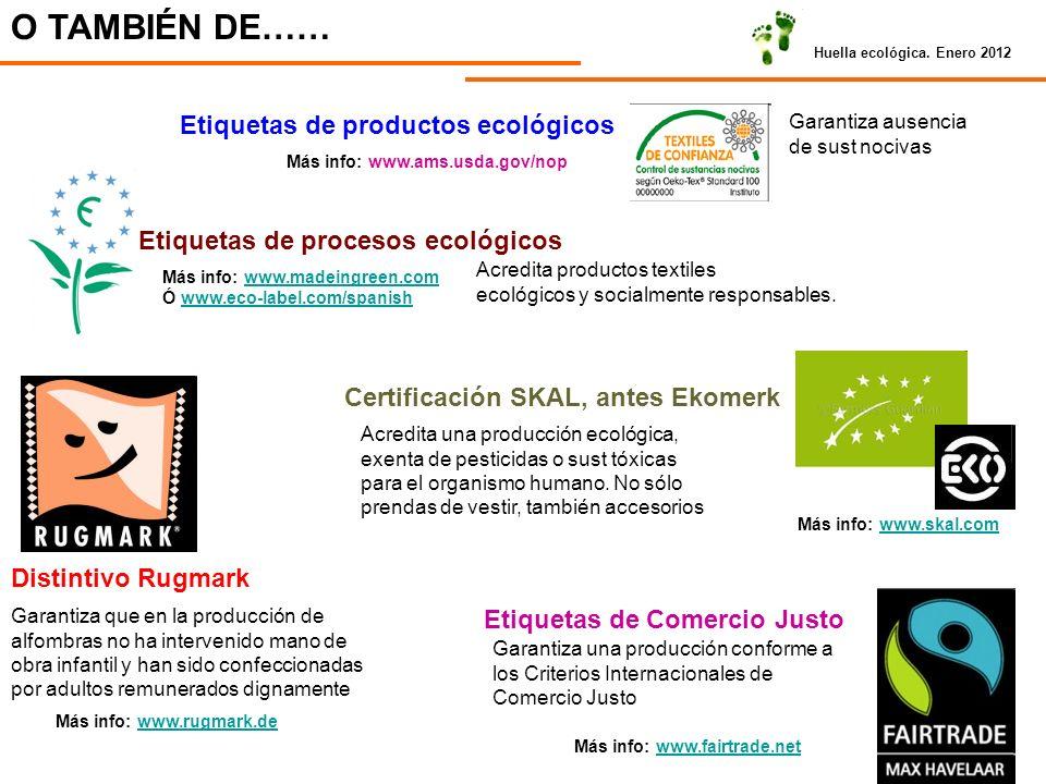 Huella ecológica. Enero 2012 O TAMBIÉN DE…… Etiquetas de productos ecológicos Garantiza ausencia de sust nocivas Más info: www.ams.usda.gov/nop Etique