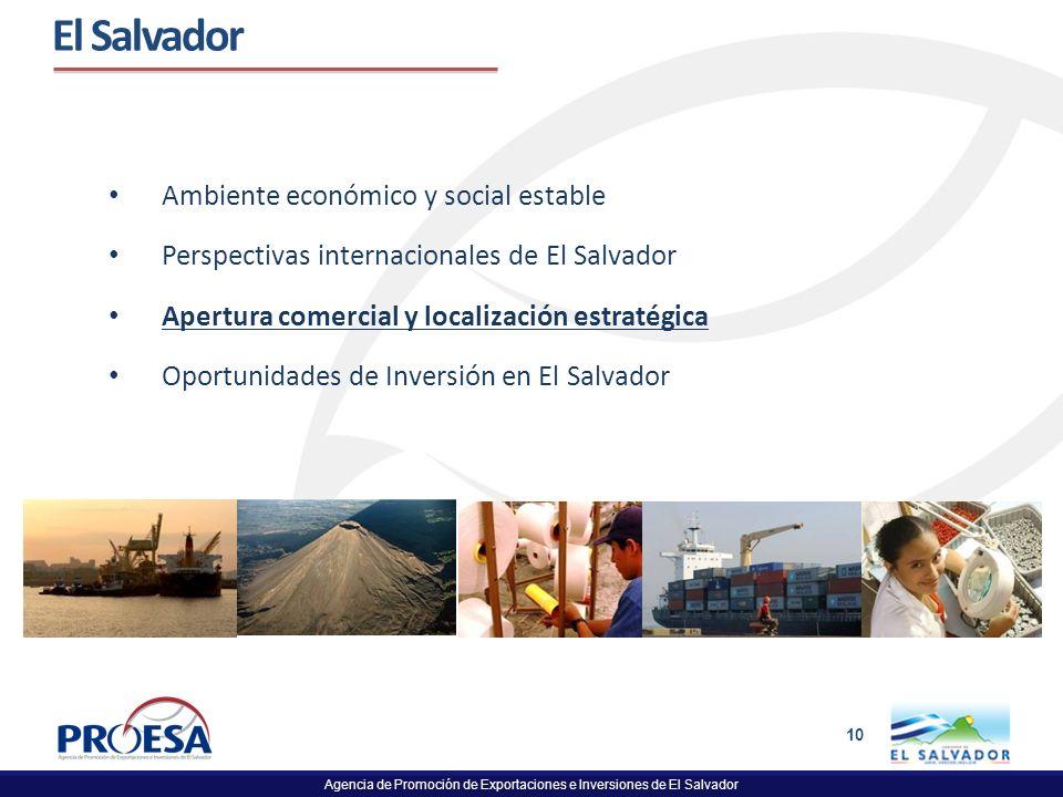 Agencia de Promoción de Exportaciones e Inversiones de El Salvador 10 El Salvador Ambiente económico y social estable Perspectivas internacionales de