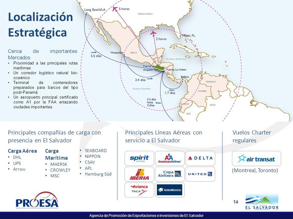 Agencia de Promoción de Exportaciones e Inversiones de El Salvador 14 Principales Líneas Aéreas con servicio a El Salvador Localización Estratégica Pr