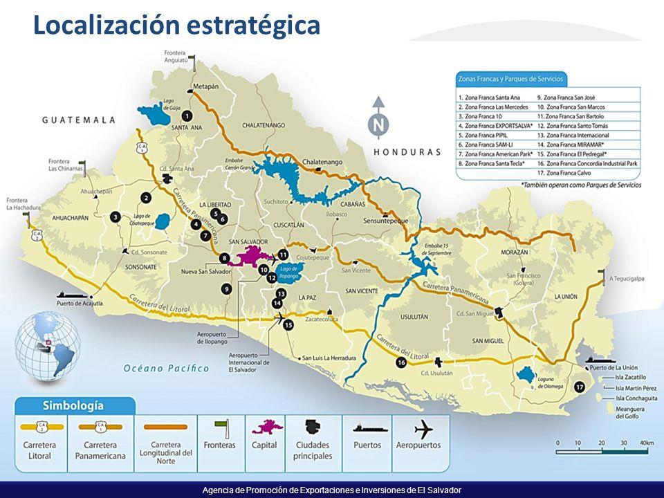 Agencia de Promoción de Exportaciones e Inversiones de El Salvador 15 Localización estratégica