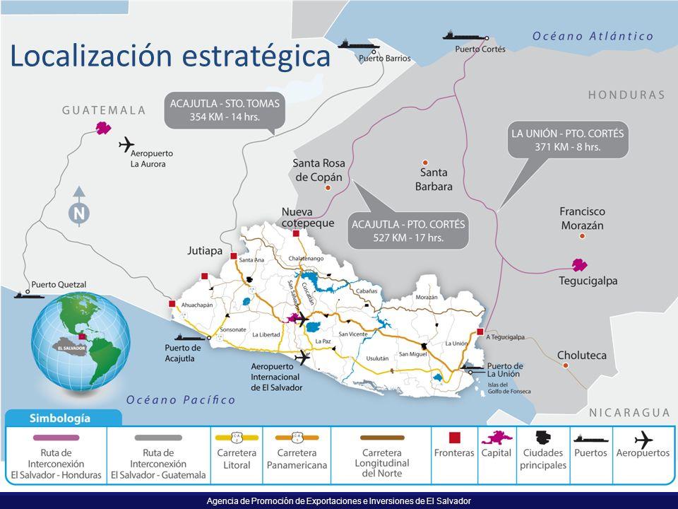 Agencia de Promoción de Exportaciones e Inversiones de El Salvador Localización estratégica