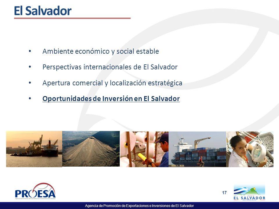 Agencia de Promoción de Exportaciones e Inversiones de El Salvador 17 El Salvador Ambiente económico y social estable Perspectivas internacionales de