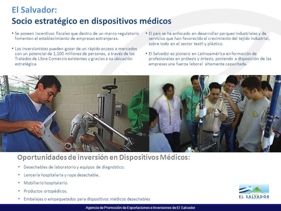 Agencia de Promoción de Exportaciones e Inversiones de El Salvador El Salvador: Socio estratégico en dispositivos médicos Se poseen incentivos fiscale