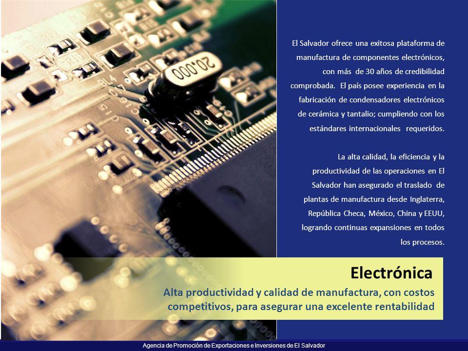 Agencia de Promoción de Exportaciones e Inversiones de El Salvador El Salvador ofrece una exitosa plataforma de manufactura de componentes electrónico